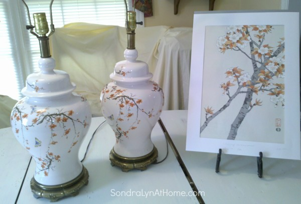 Thrift store lamps and cherry blossoms -- Sondra Lyn at Home.com