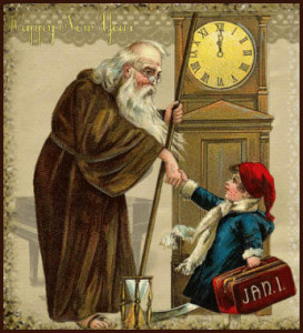 Father Time and Baby Time Shaking Hands