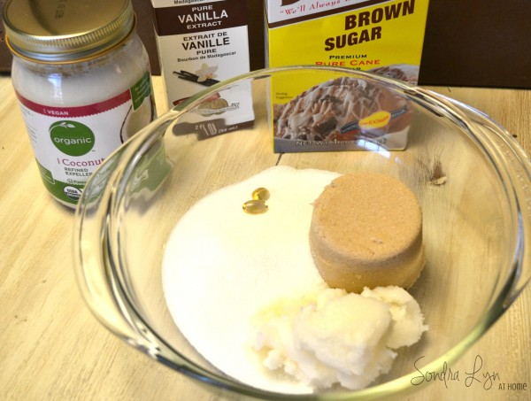 Coconut Sugar Scrub ingredients- Sondra Lyn at Home
