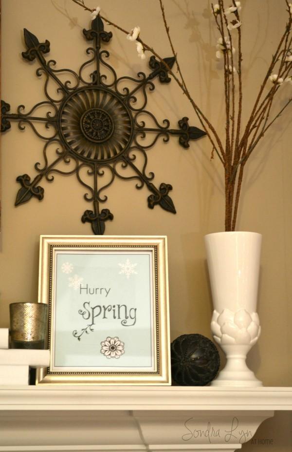 Winter White Mantel-Hurry Spring2- Sondra Lyn at Home