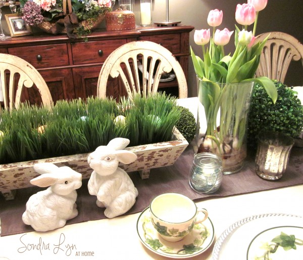 Easter Table Vignette-- Sondra Lyn at Home