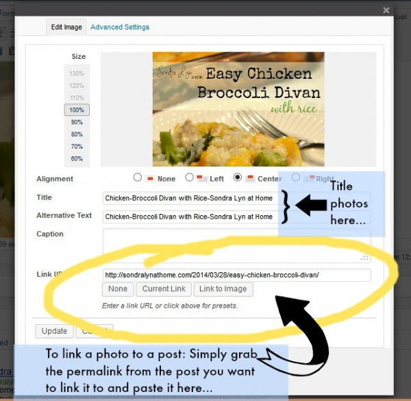 Linking and Title-ing a Photo- Sondra Lyn at Home