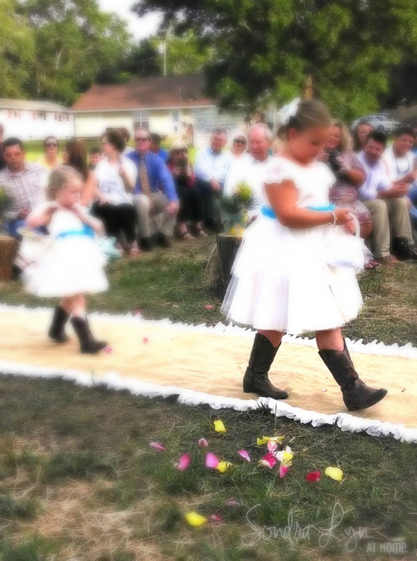 Flower Girls in boots-- A Country Wedding--Sondra Lyn at Home