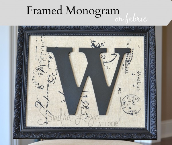 Framed Monogram on Fabric- Sondra Lyn at Home