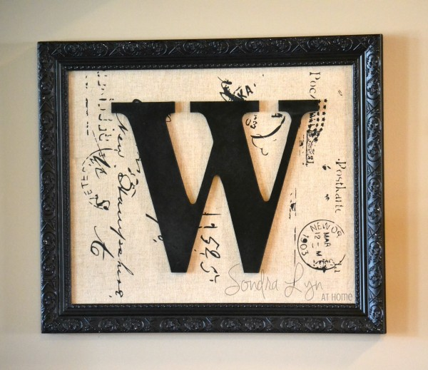 Framed-Monogram-on-Fabric- Sondra Lyn at Home