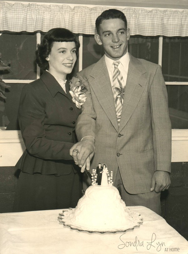 Mom and Dad-cut the cake-Sondra-Lyn-at-Home