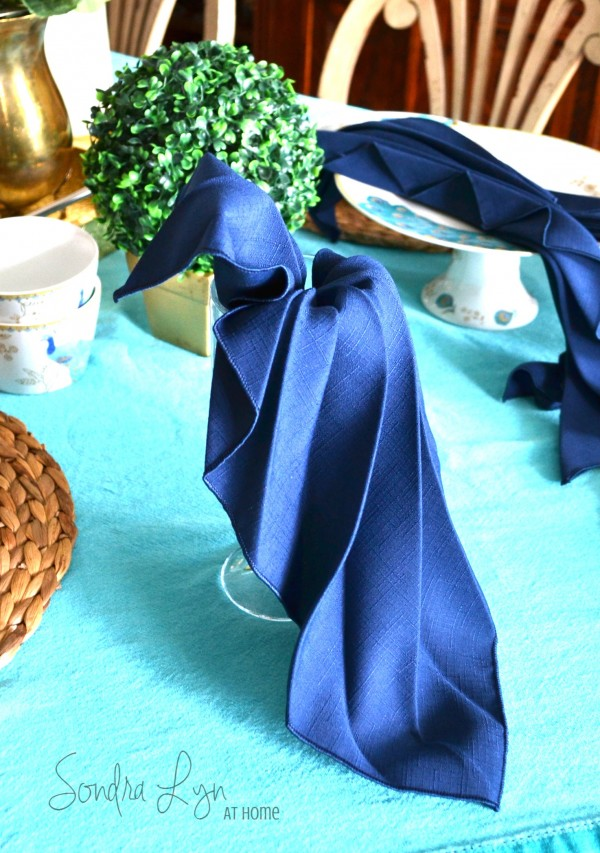 Peacock Napkin Fold Tutorial-4-- Sondra Lyn at Home