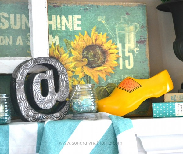 Summer Mantel Vignette2- Sondra Lyn at Home