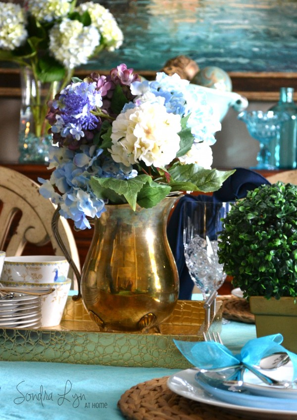 Summer Peacock Tablescape detail- Sondra Lyn at Home