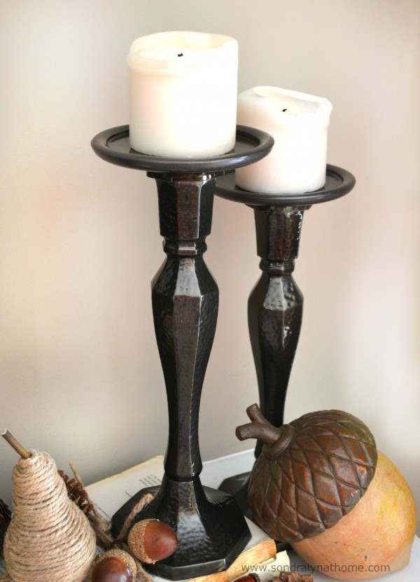 Fall Mantel- Candlesticks -- Sondra Lyn at Home