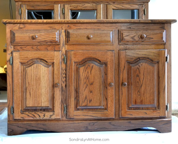 Chalk Painted Hutch- Before - Sondra Lyn at Home-w