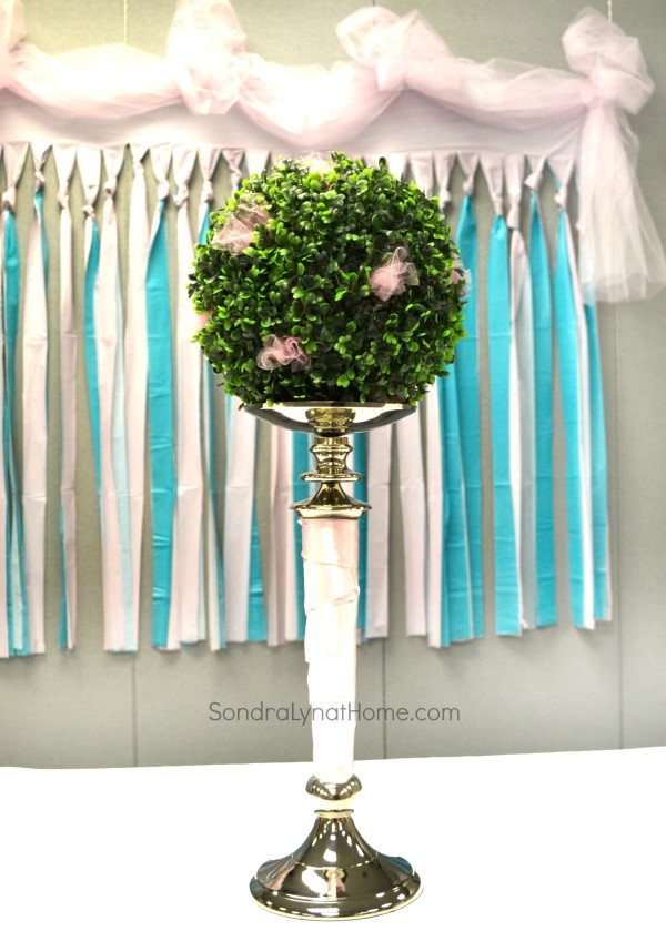 Shower Backdrop and Boxwood Ball- Sondra Lyn at Home