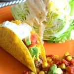 Tacos and Avocado Salsa with Wedge Salad and Mexican Ranch Dressing