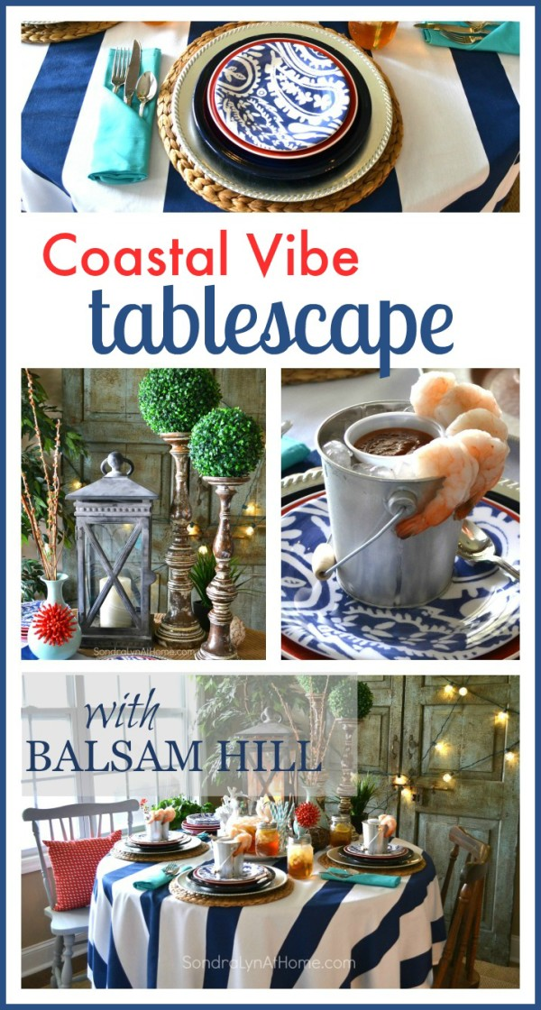 Coastal Vibe Tablescape - Pin It! -- Sondra Lyn at Home