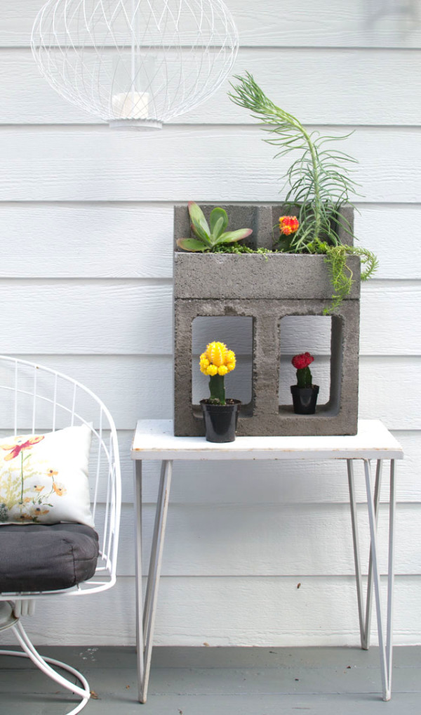 Concrete Block Cacti Planter
