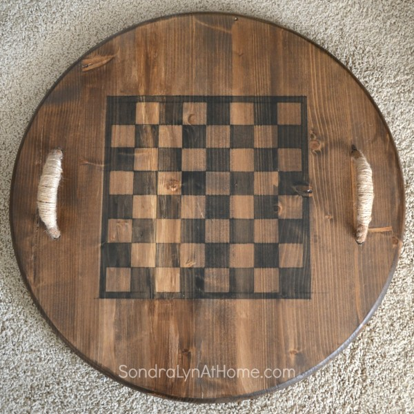 Reversible Checkerboard Wooden Tray- - Sondra Lyn at Homel