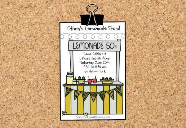 Lemonade Stand Birthday Party Invite - Sondra Lyn at Home.com