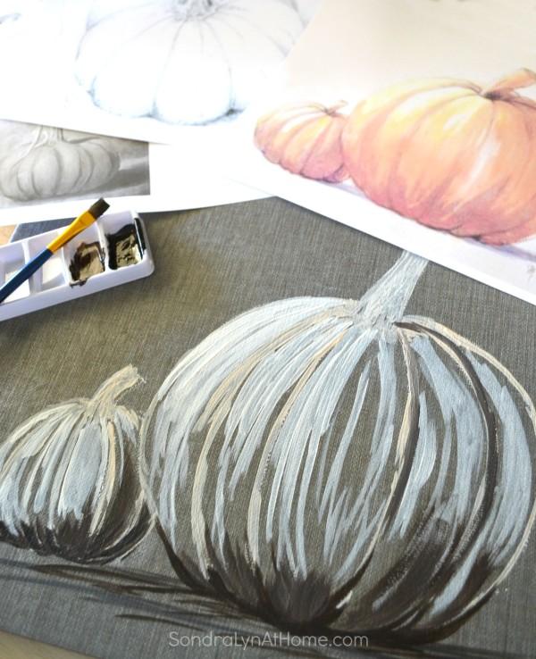 Fall Pumpkin - Acrylic on Tile - Sondra Lyn at Home.com
