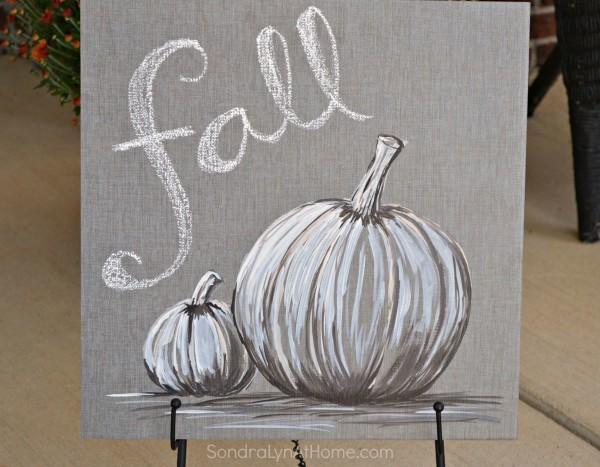 Fall Pumpkin - Acrylic on Tile --- Sondra Lyn at Home.com