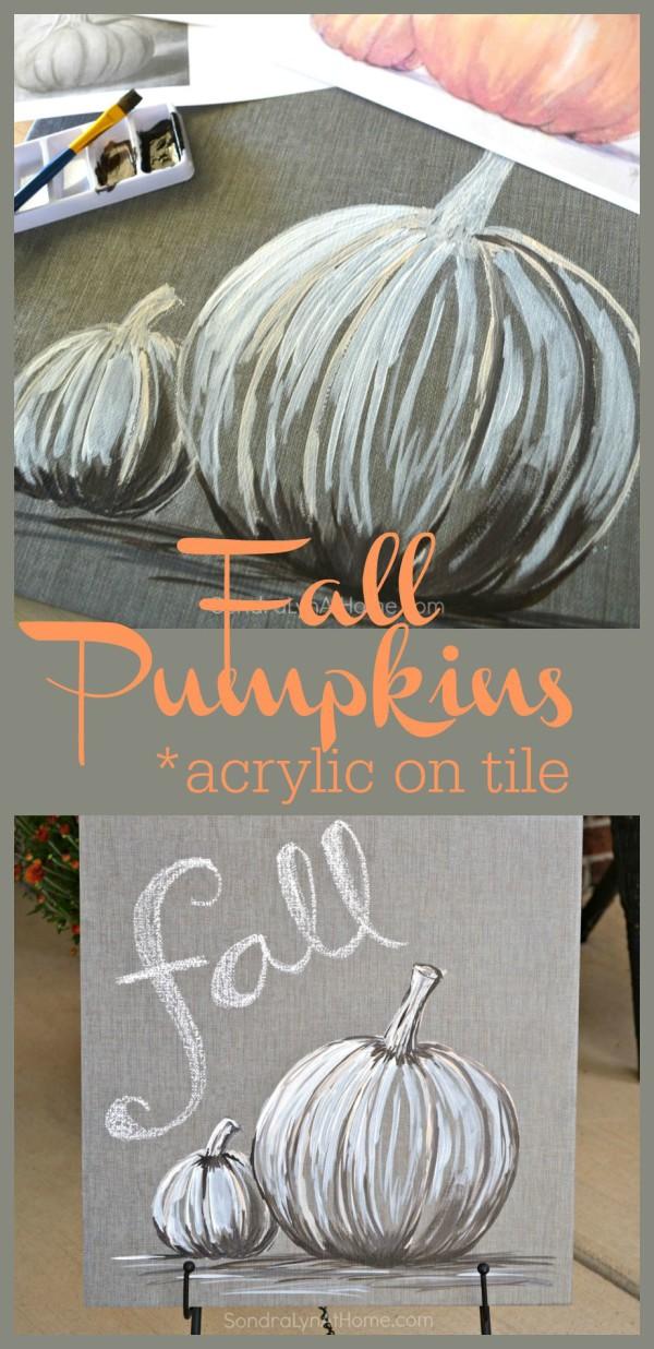 Fall Pumpkins - Acrylic on Tile -- Sondra Lyn at Home.com