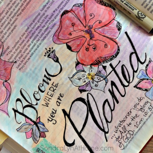 Bloom! Bible Journaling Page - Sondra Lyn at Home.com