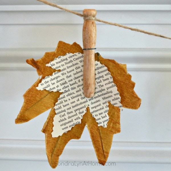 Fall Leaf Banner with Bookpage Leaves - - Sondra Lyn At Home.com