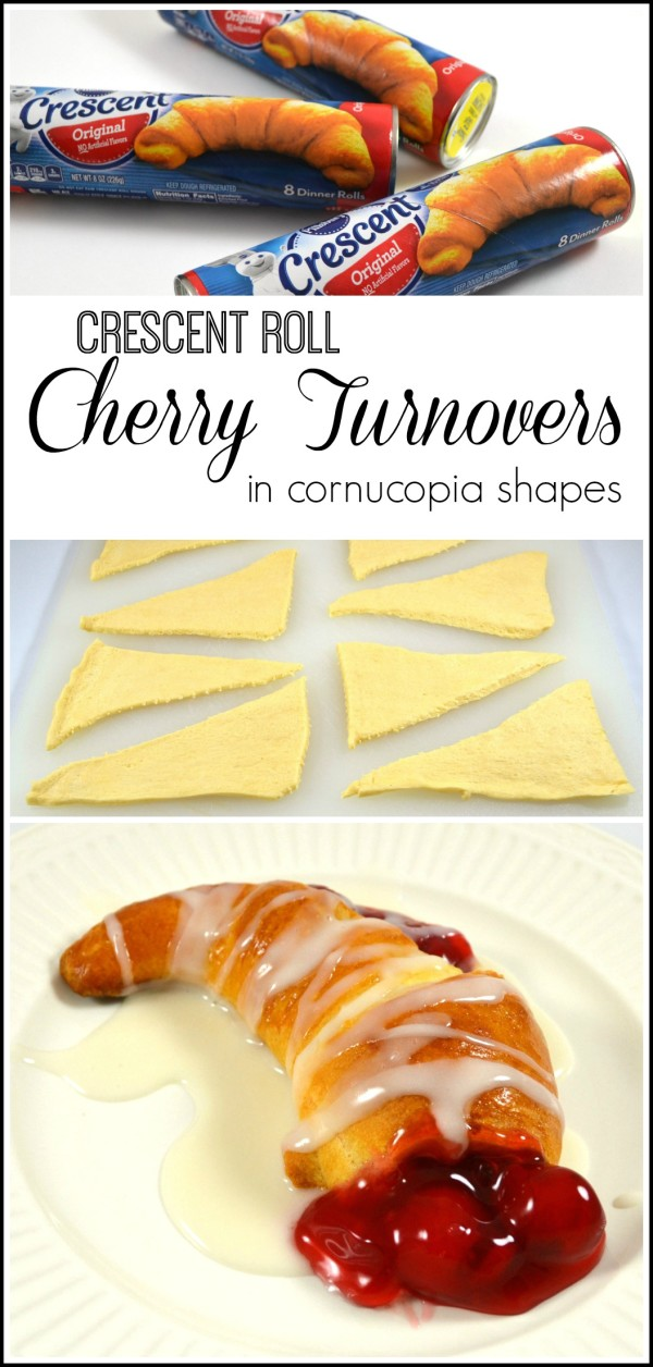 Cherry Crescent Roll Turnovers- in cornucopia shapes --Sondra Lyn at Home.com
