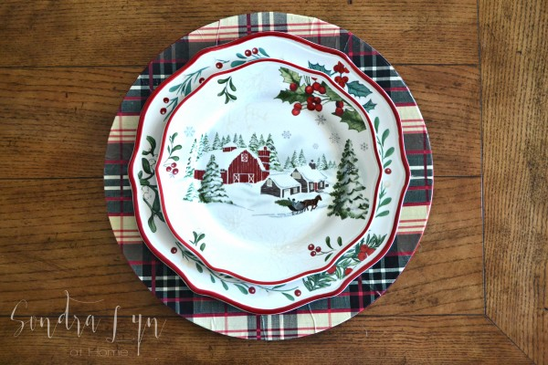 Crafting with Hallmark - DIY Plaid Chargers from Sondra Lyn at Home with plates