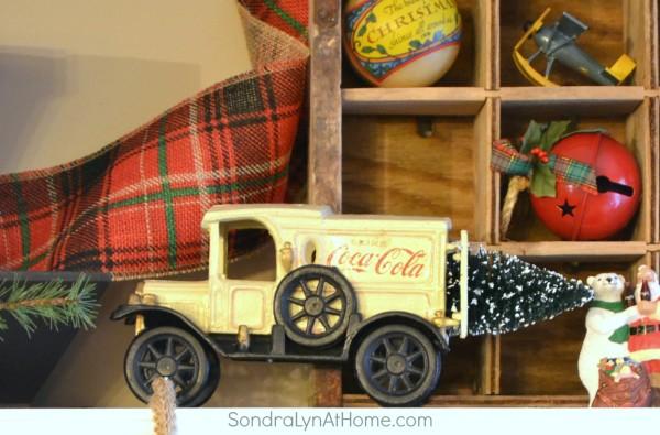 20-Minute Vintage Christmas Mantel - Cola Truck - Sondra Lyn at Home
