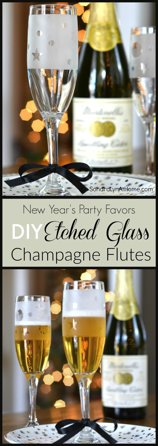 DIY Etched Glass Champagne Flute Party Favors -- pinnable image - - Sondra Lyn at Home.com