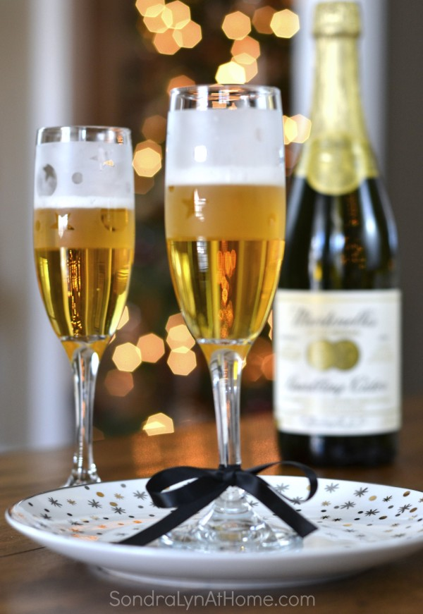 Etched Glass Champagne Flute DIY New Year's Eve Party Favors - Sondra Lyn at Home.com