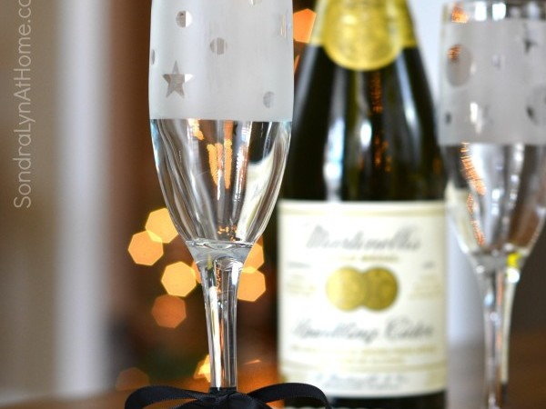 Etched Glass Champagne Flute Party Favors --- Sondra Lyn at Home.com