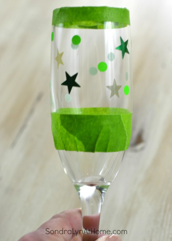 Etched Glass Champagne Flutes - Applying Decals - Sondra Lyn at Home.com