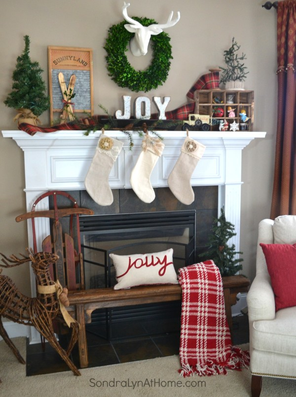 Family Room at Christmastime - Fireplace - All Through the House Tour - Sondra Lyn at Home
