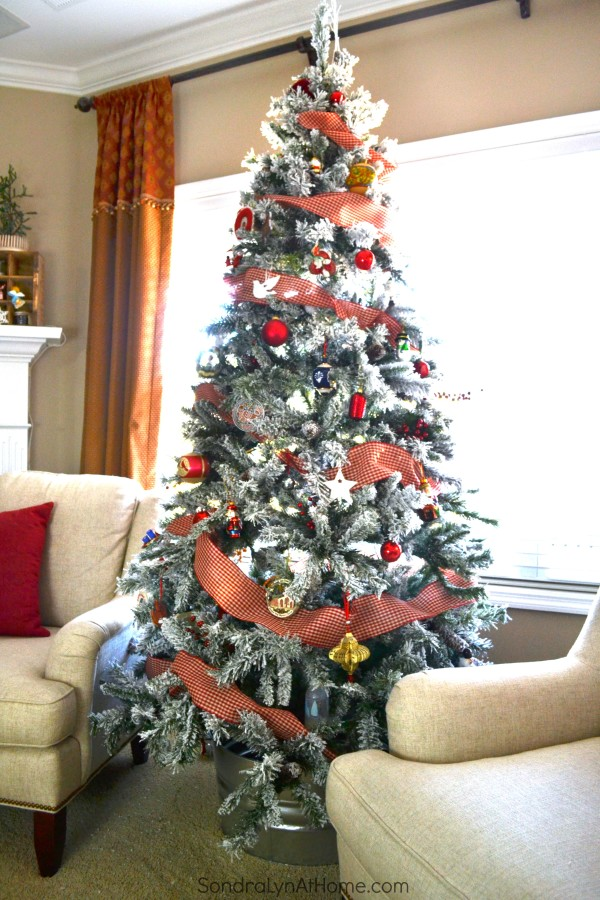 Family Room at Christmastime - Our 2015 Tree - All Through the House Tour - Sondra Lyn at Home