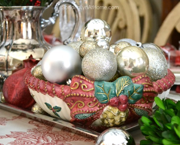 Merry and Toile Tablescape - Fitz and Floyd Bowl with Ornaments- from Sondra Lyn at Home
