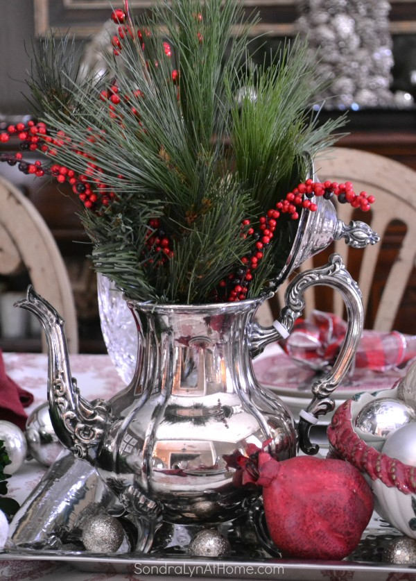 Merry and Toile Tablescape - Mamaw's Silver Tea Service - Sondra Lyn at Home