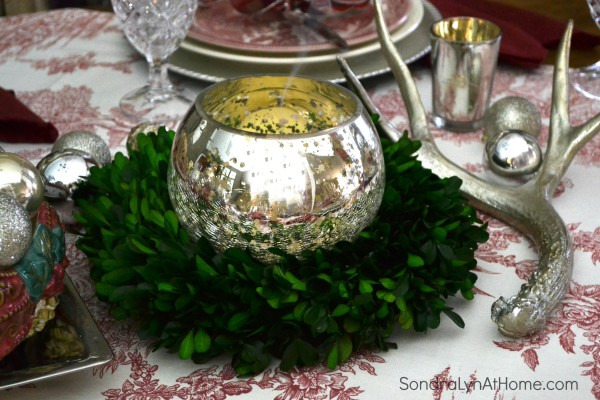 Merry and Toile Tablescape - Smoking Candle --- Sondra Lyn at Home