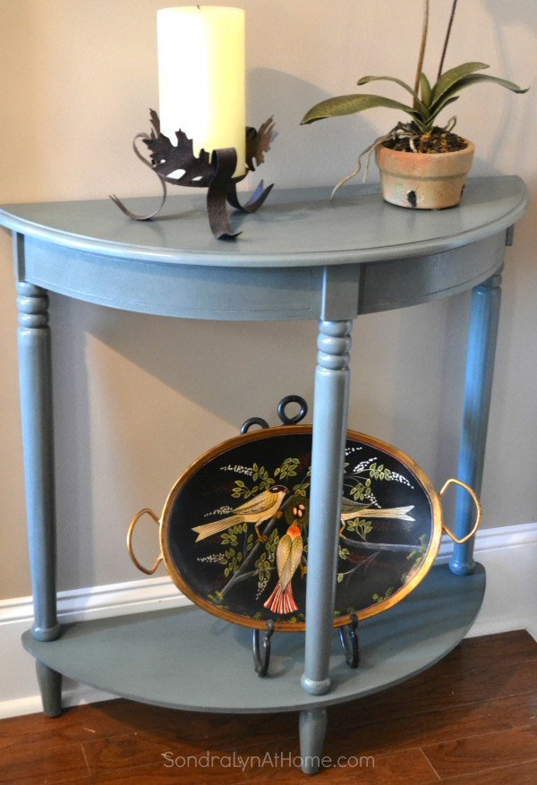 Side Table Makeover with Folk Art Chalk - before- Sondra Lyn at Home.com