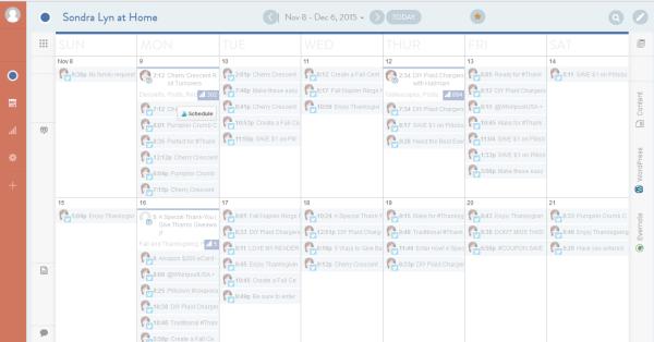 Screenshot of My CoSchedule Editorial Calendar - Sondra Lyn at Home.com