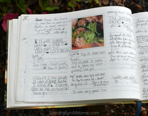 Page from Guest Book - Sondra Lyn at Home