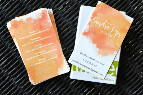 Sondra Lyn at Home Business Card - front and back