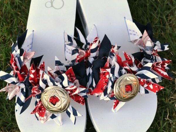 Red White and Blue Scrappy Flip Flops