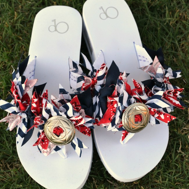 Red White Blue Flip Flops --Sondra Lyn at Home.com