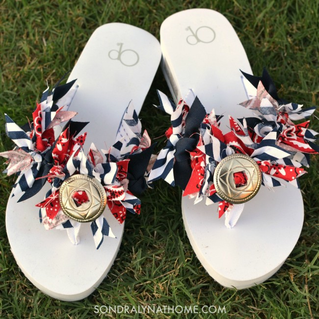 Red White Blue Flip Flops ---Sondra Lyn at Home.com
