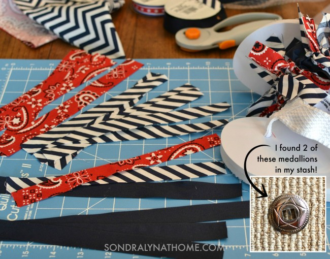 Red White Blue Flip Flops -supplies plus medallion- Sondra Lyn at Home.com