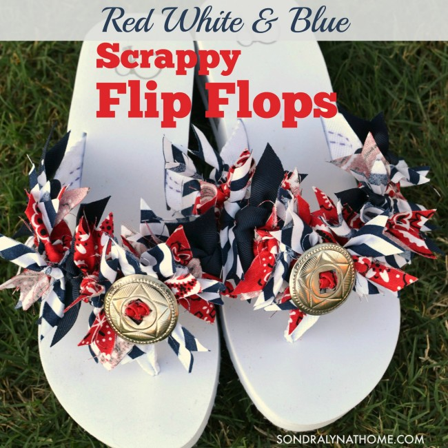 Red White Blue SCRAPPY FLIP FLOPS --Sondra Lyn at Home.com