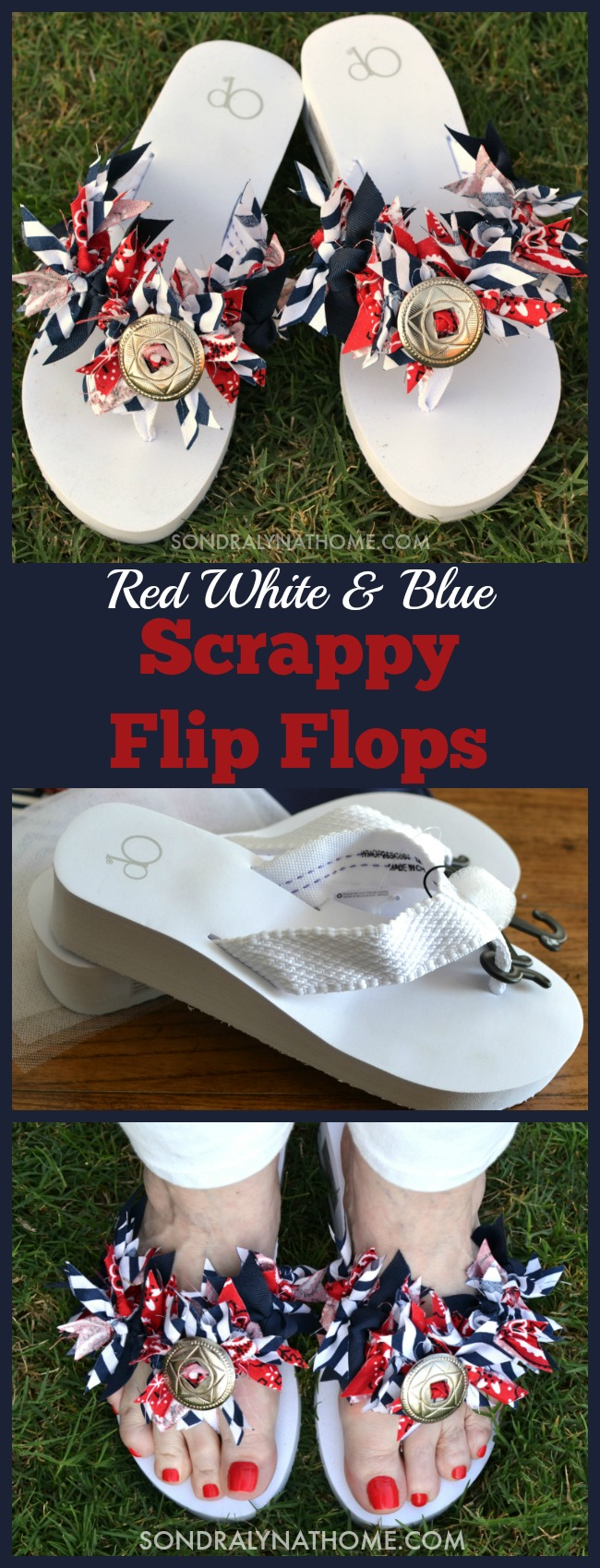 Red White Blue Scrappy Fabric Flip Flops -- Tutorial at Sondra Lyn at Home.com