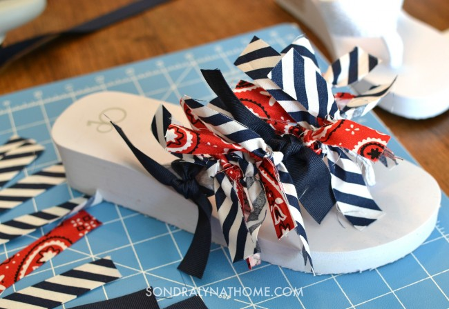 Red White Blue Scrappy Flip Flops - tying on the fabric strips-Sondra Lyn at Home.com