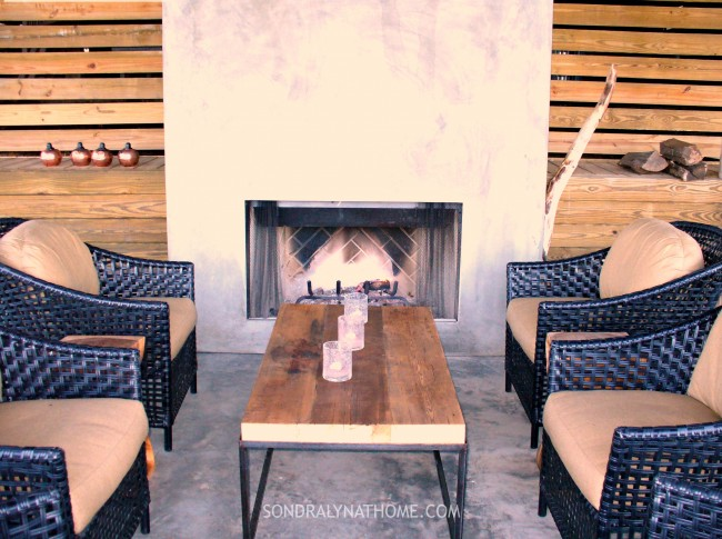 Lake House Outdoor Seating and Fireplace -- Sondra Lyn at Home.com